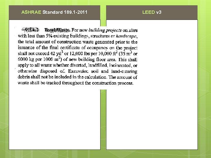ASHRAE Standard 189. 1 -2011 LEED v 3