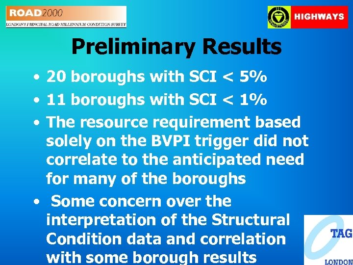 Preliminary Results • 20 boroughs with SCI < 5% • 11 boroughs with SCI