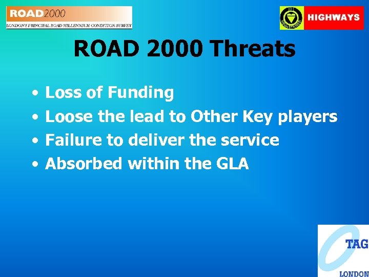 ROAD 2000 Threats • • Loss of Funding Loose the lead to Other Key