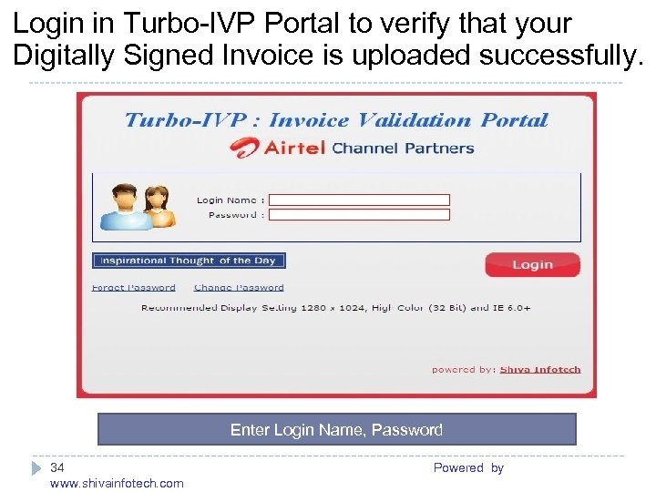Login in Turbo-IVP Portal to verify that your Digitally Signed Invoice is uploaded successfully.