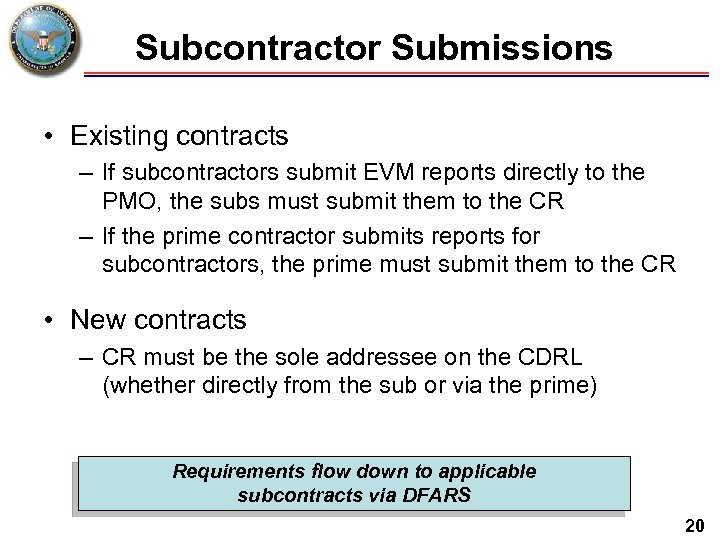 Subcontractor Submissions • Existing contracts – If subcontractors submit EVM reports directly to the