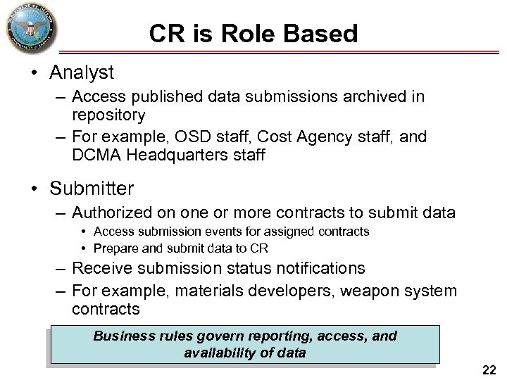 CR is Role Based • Analyst – Access published data submissions archived in repository