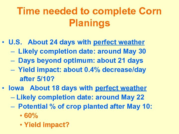 Time needed to complete Corn Planings • U. S. About 24 days with perfect