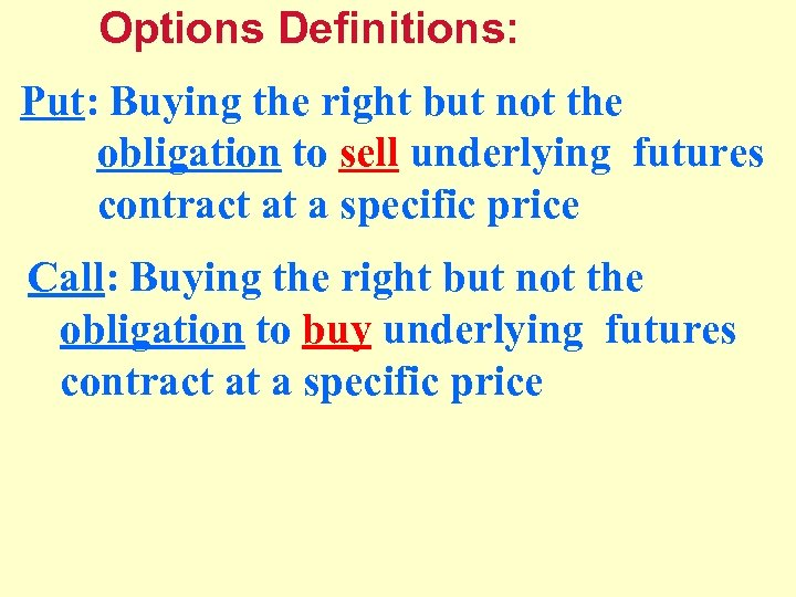 Options Definitions: Put: Buying the right but not the obligation to sell underlying futures