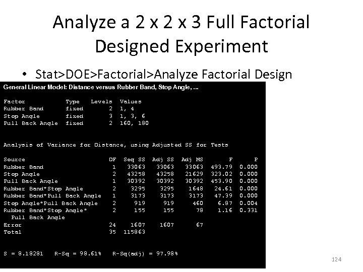 Analyze a 2 x 3 Full Factorial Designed Experiment • Stat>DOE>Factorial>Analyze Factorial Design General