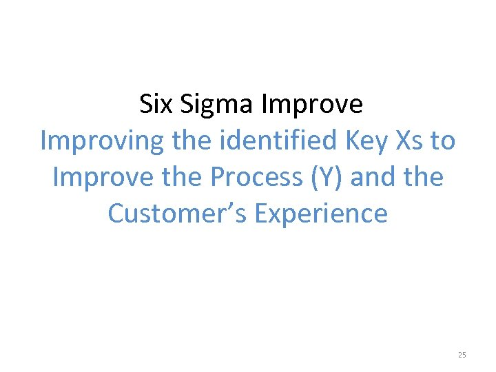 Six Sigma Improve Improving the identified Key Xs to Improve the Process (Y) and
