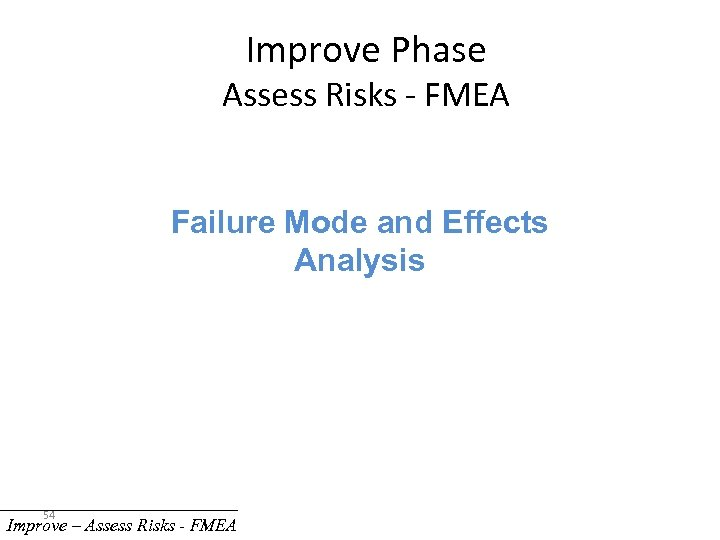 Improve Phase Assess Risks - FMEA Failure Mode and Effects Analysis 54 Improve –