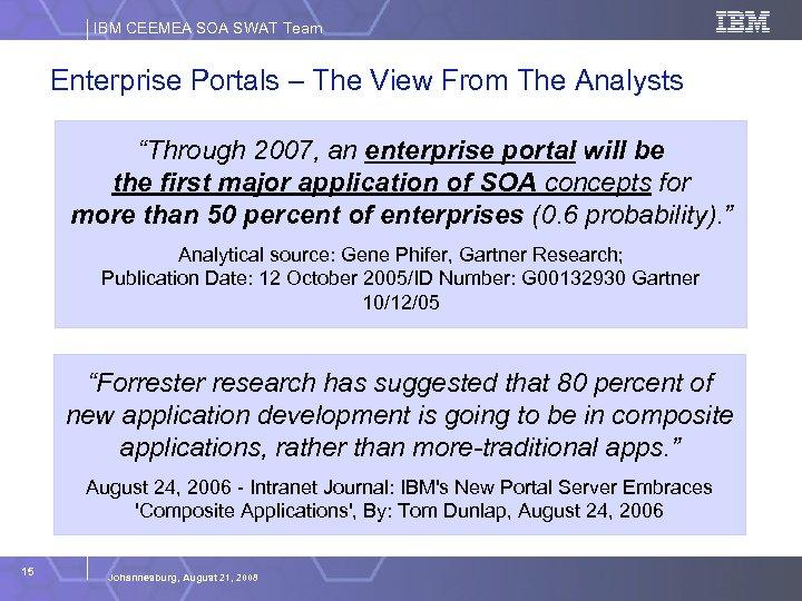 "IBM CEEMEA SOA SWAT Team Enterprise Portals – The View From The Analysts ""Through"