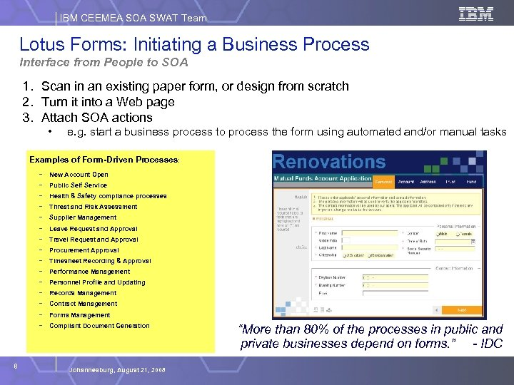 IBM CEEMEA SOA SWAT Team Lotus Forms: Initiating a Business Process Interface from People