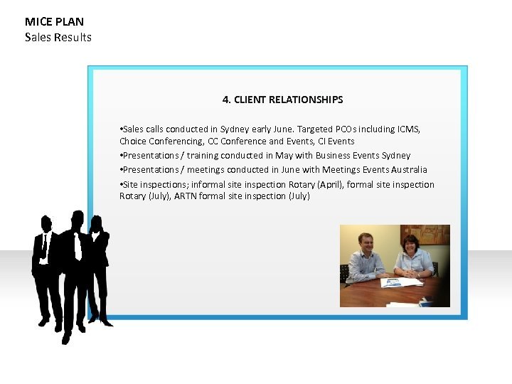 MICE PLAN Sales Results 4. CLIENT RELATIONSHIPS • Sales calls conducted in Sydney early