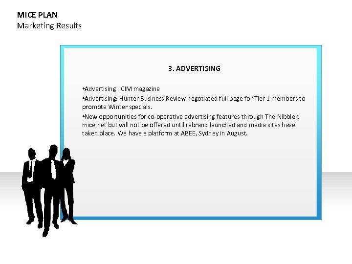 MICE PLAN Marketing Results 3. ADVERTISING • Advertising : CIM magazine • Advertising: Hunter