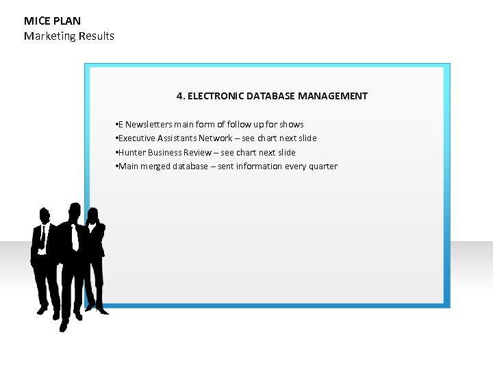 MICE PLAN Marketing Results 4. ELECTRONIC DATABASE MANAGEMENT • E Newsletters main form of