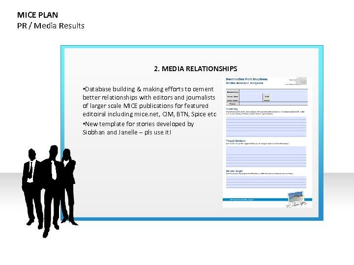MICE PLAN PR / Media Results 2. MEDIA RELATIONSHIPS • Database building & making
