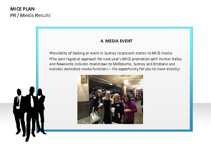 MICE PLAN PR / Media Results 4. MEDIA EVENT • Possibility of looking at