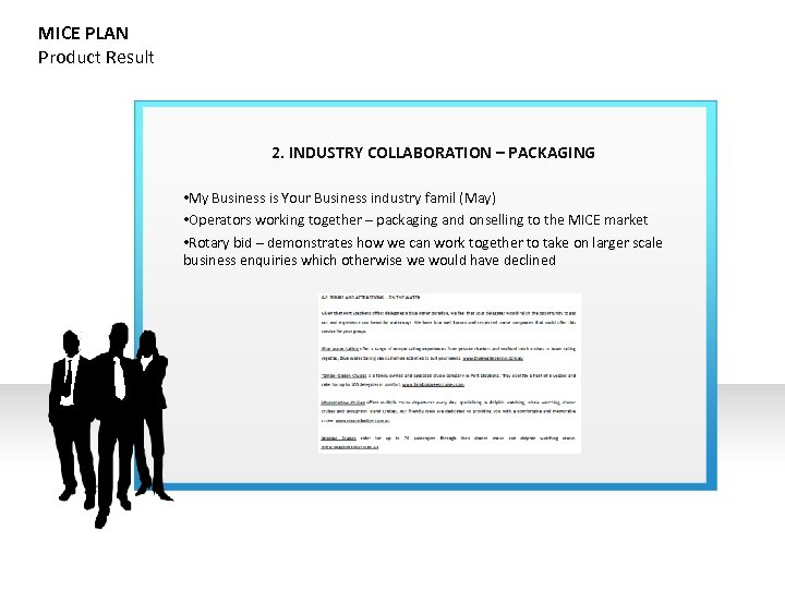 MICE PLAN Product Result 2. INDUSTRY COLLABORATION – PACKAGING • My Business is Your