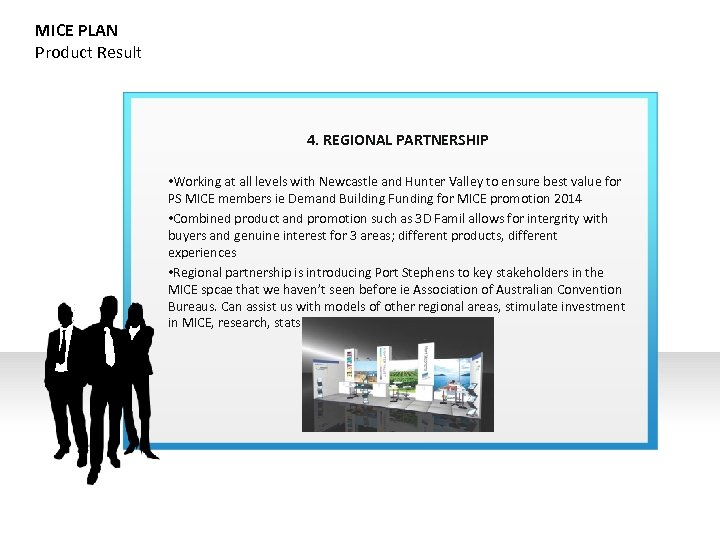 MICE PLAN Product Result 4. REGIONAL PARTNERSHIP • Working at all levels with Newcastle