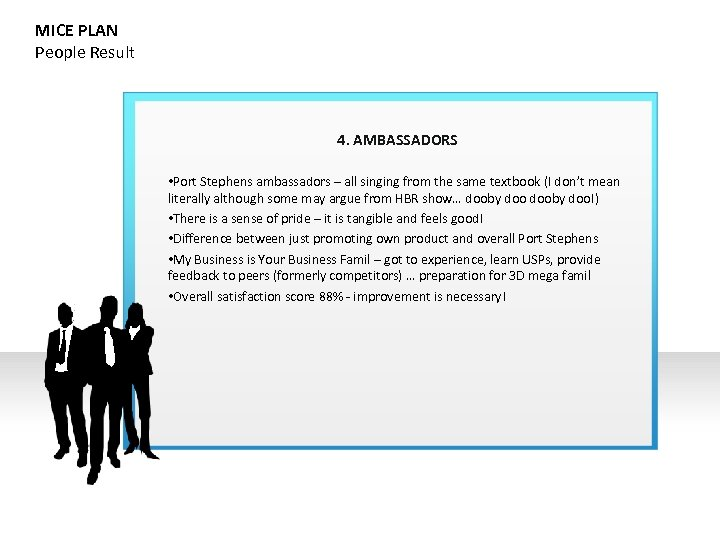 MICE PLAN People Result 4. AMBASSADORS • Port Stephens ambassadors – all singing from
