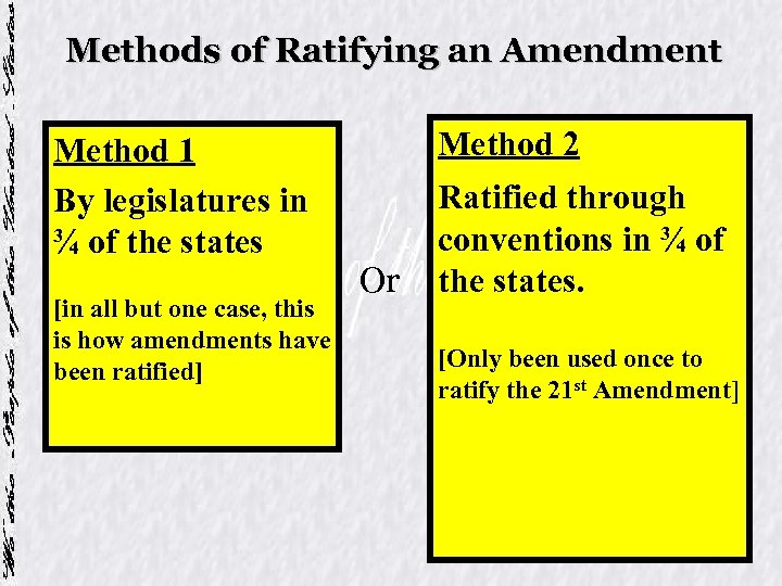 Methods of Ratifying an Amendment Method 1 By legislatures in ¾ of the states