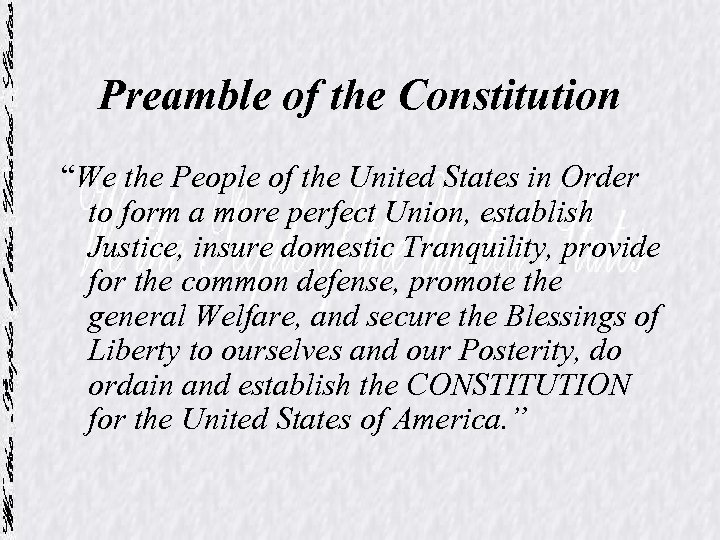 "Preamble of the Constitution ""We the People of the United States in Order to"