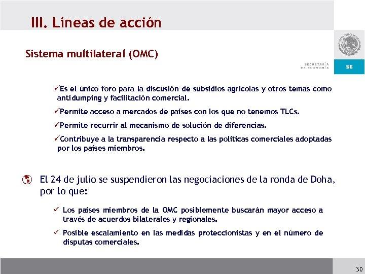 III. Líneas de acción Sistema multilateral (OMC) üEs el único foro para la discusión