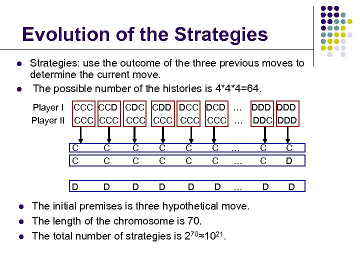 Evolution of the Strategies l l Strategies: use the outcome of the three previous
