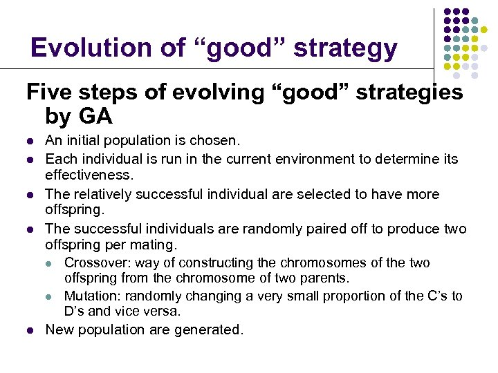 """Evolution of """"good"""" strategy Five steps of evolving """"good"""" strategies by GA l l"""