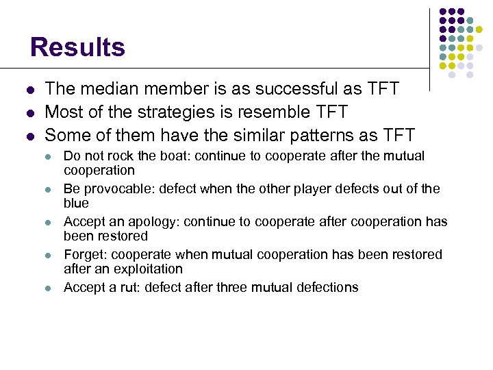Results l l l The median member is as successful as TFT Most of