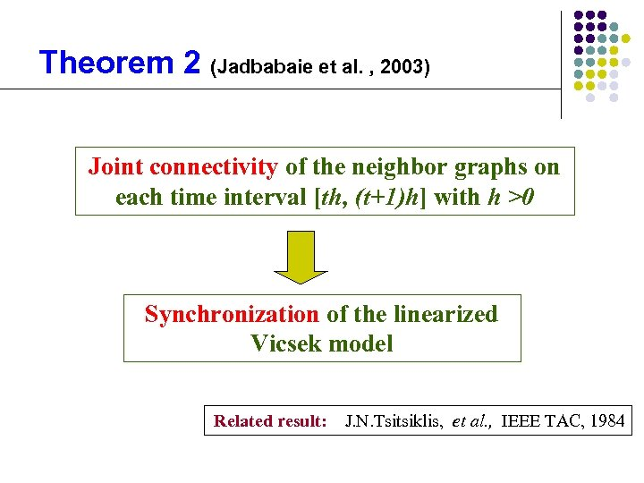 Theorem 2 (Jadbabaie et al. , 2003) Joint connectivity of the neighbor graphs on