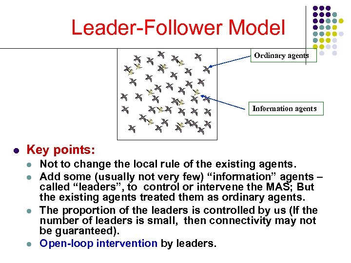 Leader-Follower Model Ordinary agents Information agents l Key points: l l Not to change
