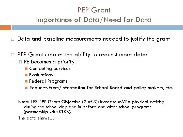PEP Grant Importance of Data/Need for Data and baseline measurements needed to justify the
