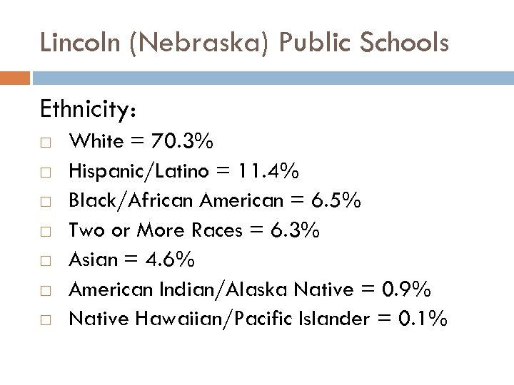Lincoln (Nebraska) Public Schools Ethnicity: White = 70. 3% Hispanic/Latino = 11. 4% Black/African