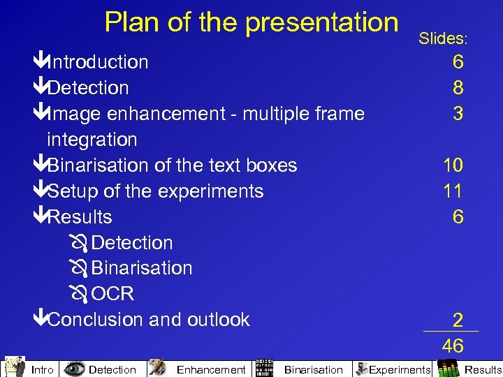 Plan of the presentation Slides: êIntroduction êDetection êImage enhancement - multiple frame integration êBinarisation