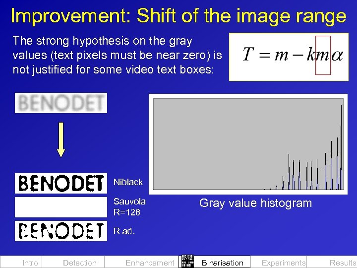 Improvement: Shift of the image range The strong hypothesis on the gray values (text