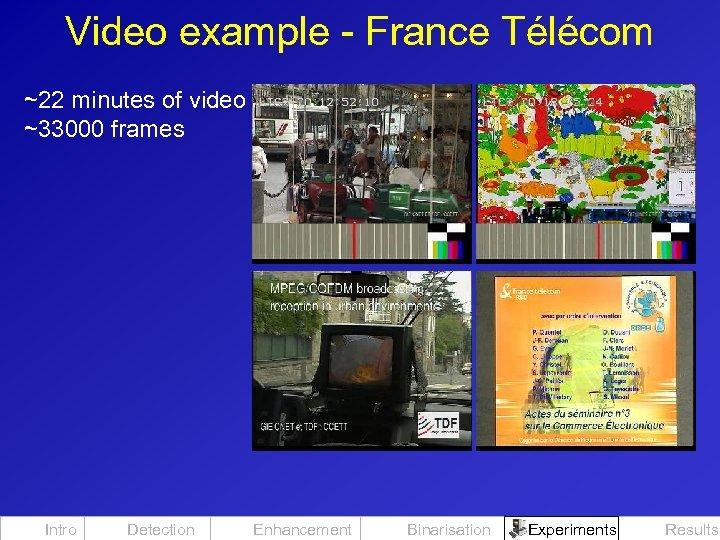 Video example - France Télécom ~22 minutes of video ~33000 frames Intro Detection Enhancement