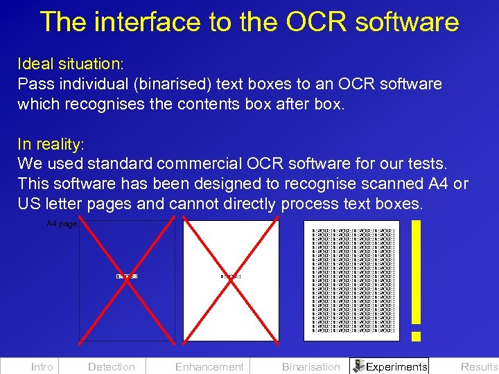 The interface to the OCR software Ideal situation: Pass individual (binarised) text boxes to