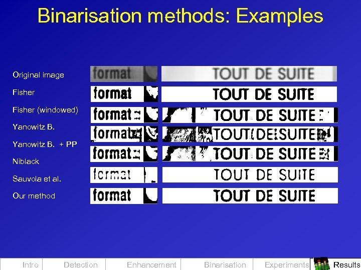 Binarisation methods: Examples Original image Fisher (windowed) Yanowitz B. + PP Niblack Sauvola et