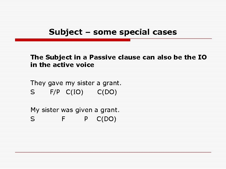 Subject – some special cases The Subject in a Passive clause can also be