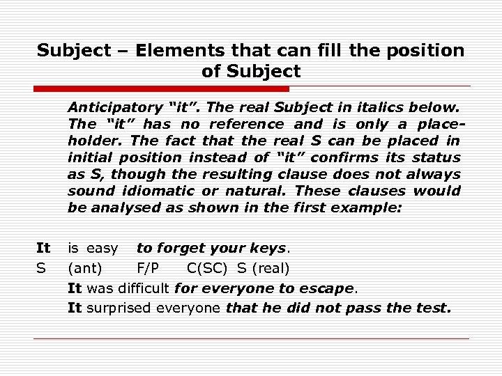 """Subject – Elements that can fill the position of Subject Anticipatory """"it"""". The real"""