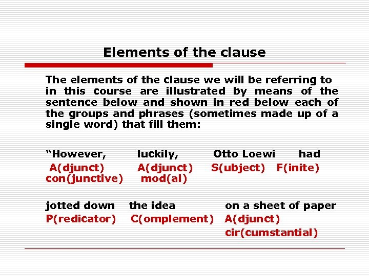 Elements of the clause The elements of the clause we will be referring to