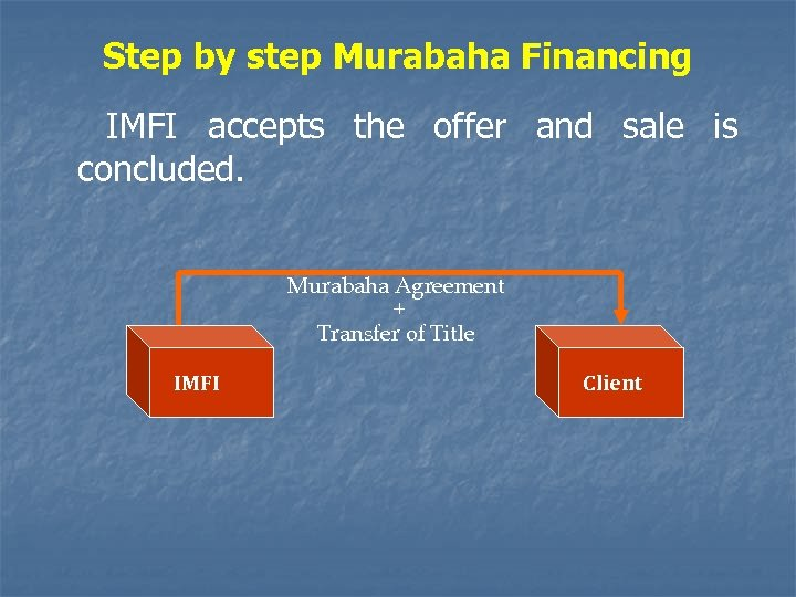 Step by step Murabaha Financing IMFI accepts the offer and sale is concluded. Murabaha