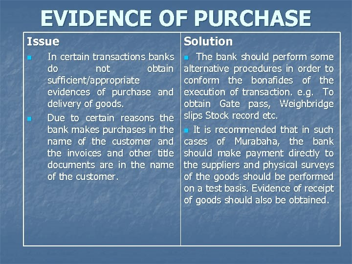 EVIDENCE OF PURCHASE Issue n n In certain transactions banks do not obtain sufficient/appropriate
