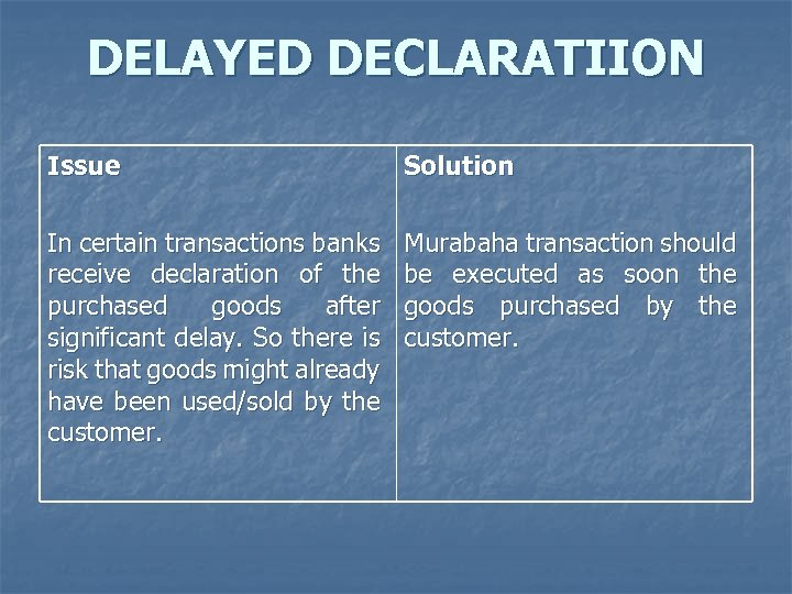 DELAYED DECLARATIION Issue Solution In certain transactions banks receive declaration of the purchased goods