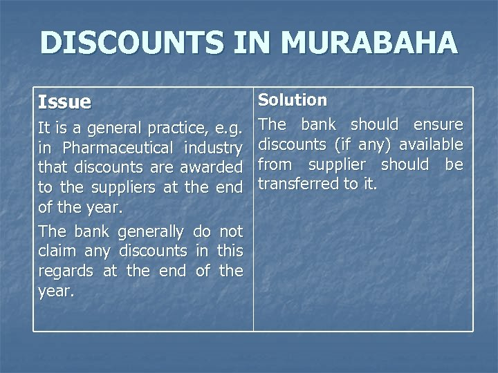 DISCOUNTS IN MURABAHA Issue It is a general practice, e. g. in Pharmaceutical industry