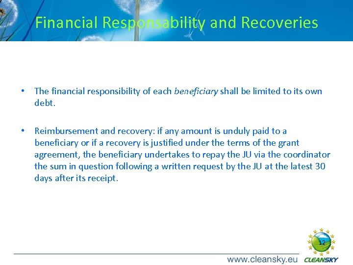 Financial Responsability and Recoveries • The financial responsibility of each beneficiary shall be limited