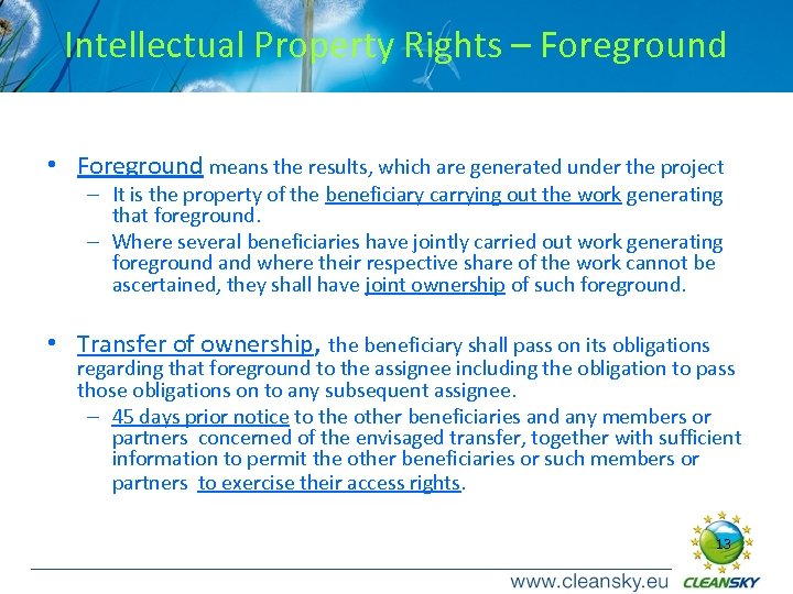 Intellectual Property Rights – Foreground • Foreground means the results, which are generated under