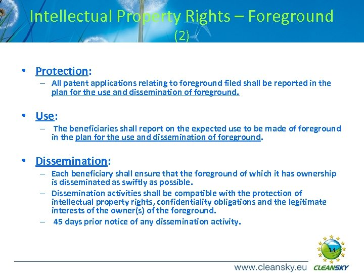 Intellectual Property Rights – Foreground (2) • Protection: – All patent applications relating to