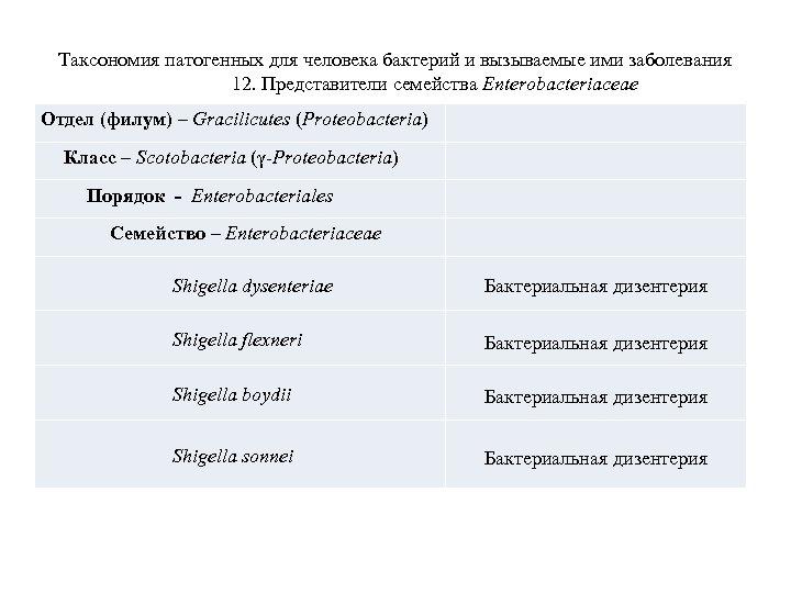 Таксономия патогенных для человека бактерий и вызываемые ими заболевания 12. Представители семейства Enterobacteriaceae Отдел