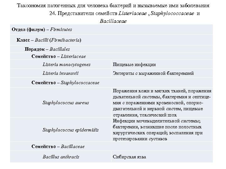 Таксономия патогенных для человека бактерий и вызываемые ими заболевания 24. Представители семейств Listeriaceae ,