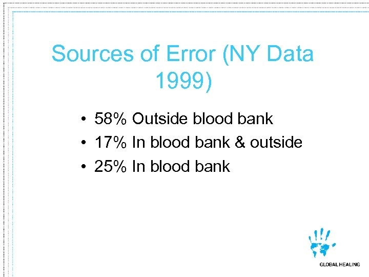 Sources of Error (NY Data 1999) • 58% Outside blood bank • 17% In