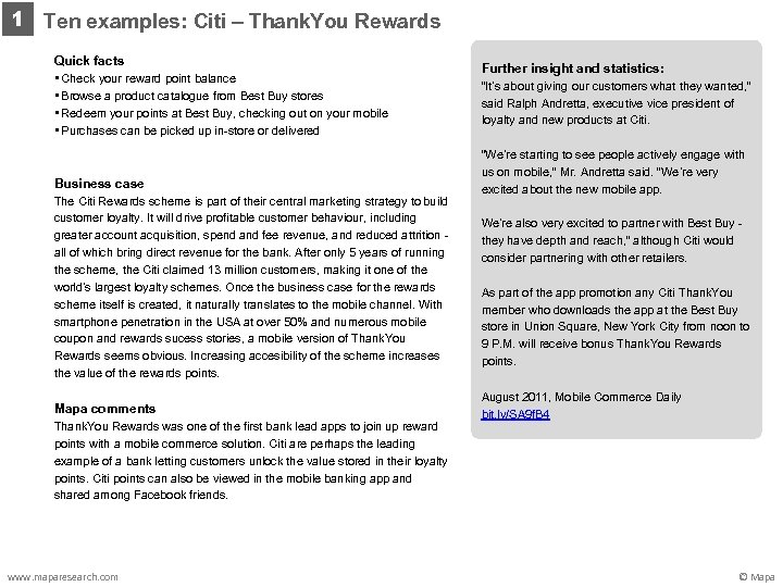 1 Ten examples: Citi – Thank. You Rewards Quick facts • Check your reward